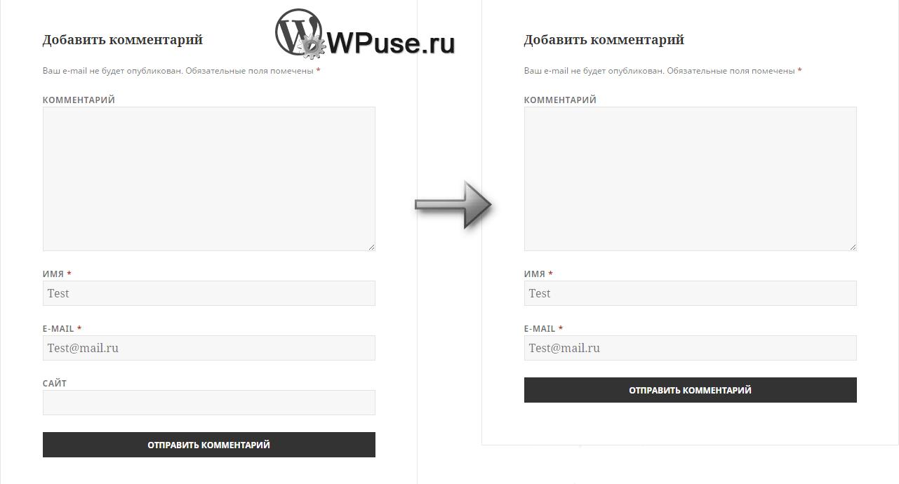 Блок ввода комментария в WordPress: со строкой ввода УРЛ и после того, как мы её убрали