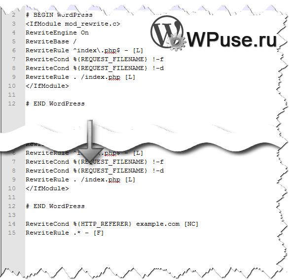 Блокируем через htaccess переход с указанного сайта на ваш