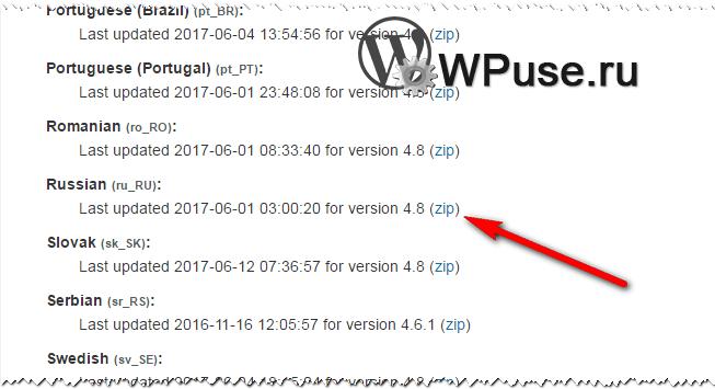 Скачиваем выбранную локализацию WordPress плагина или темы