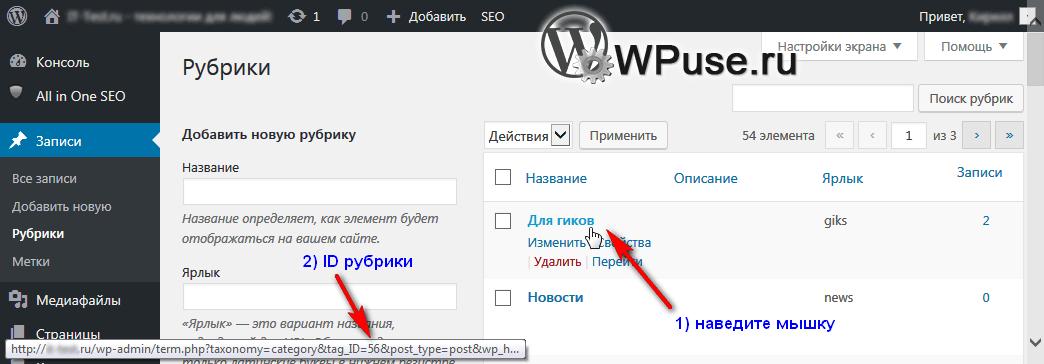 Как исключить статьи рубрики из RSS в WordPress