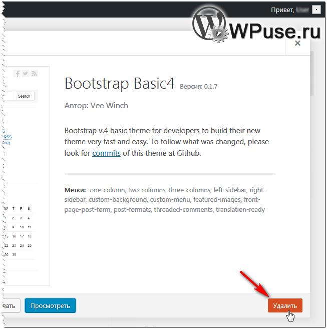 Процесс удаления темы в WordPress