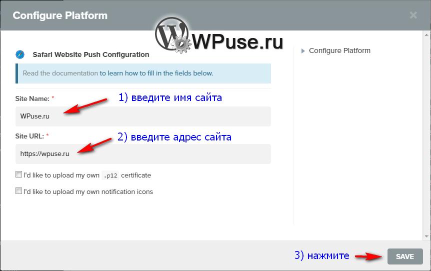 Впишите имя вашего сайта и его домен