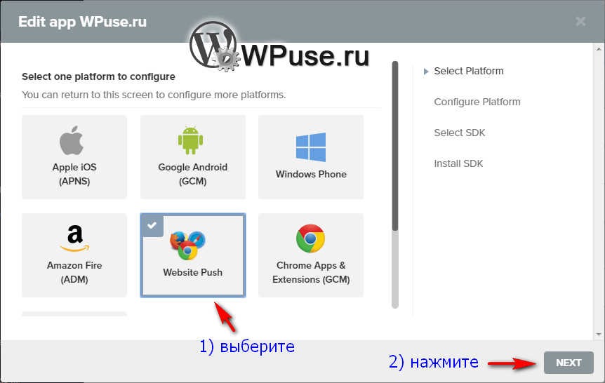 Выберите Website Push