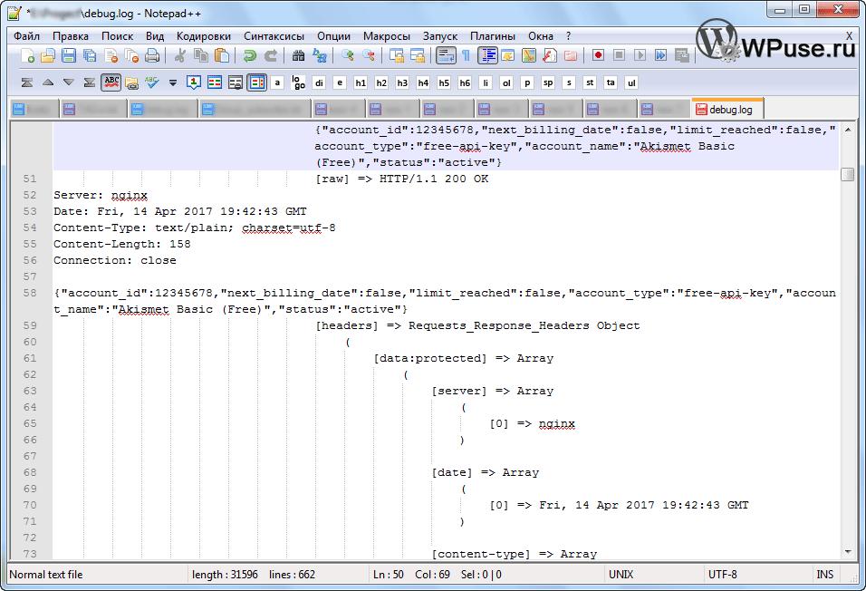 Лог работы плагина Akismet, который пишется в файл debug.log