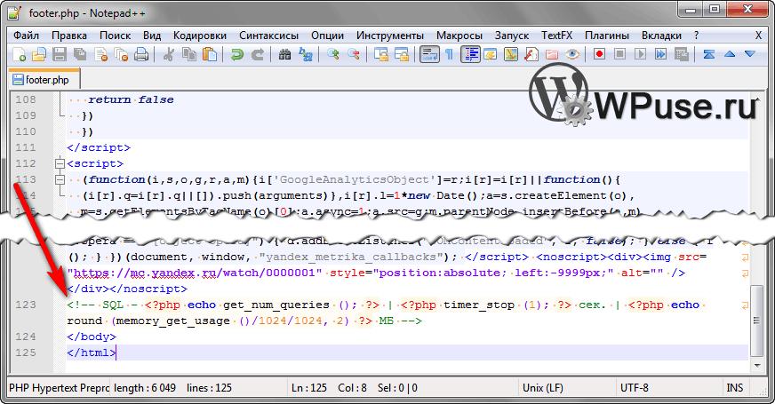 Размещение кода в WordPress шаблоне, который показывает скорость работы сайта