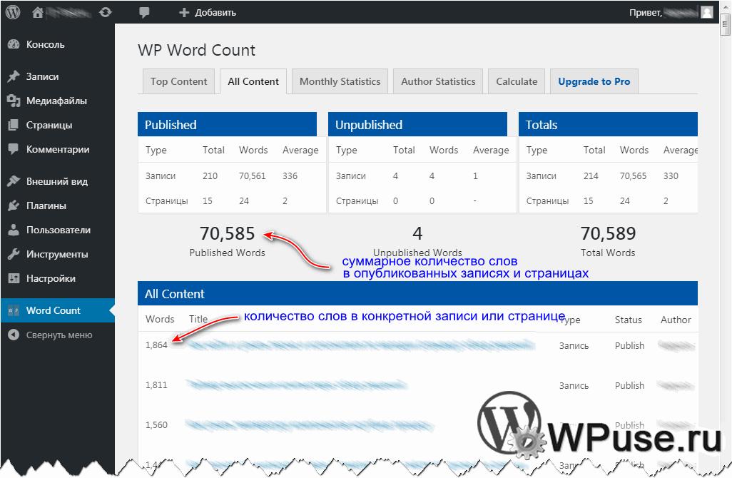 Информация о том, сколько слов в статьях, на страницах суммарно, в конкретной записи или странице на WordPress сайте