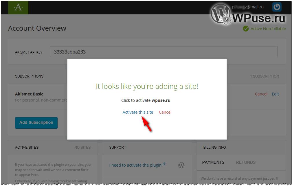 Завершающий этап получения бесплатного API-ключа для Akismet